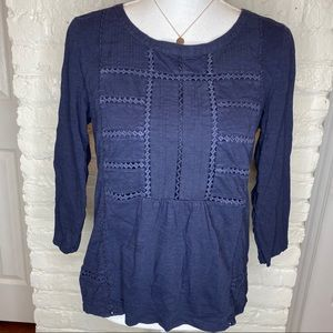 Talbots Navy Blue Embroidered 3/4 Sleeves Top